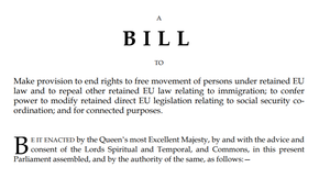 An extract from the first page of the Immigration and Social Security Co-ordination(EU Withdrawal) Bill (PA)