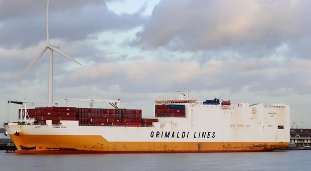 A view of the Grimaldi Lines' Grande Tema docked at the Port of Tilbury, Essex (Gareth Fuller/PA)
