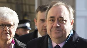 Alex Salmond arrives at the High Court in Edinburgh for the sixth day of his trial (David Cheskin/PA)