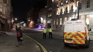 A picture of a police cordon in Westminster after a man brandishing knives was shot dead by police on Sunday night (Scott D'Arcy/PA)