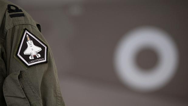 An RAF pilot arm badge with the F35 B Variant logo (Peter Byrne/PA)
