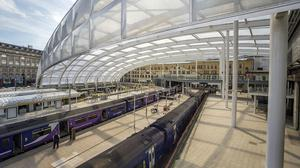 Platforms 1 and 2 at Manchester Victoria railway station, which has undergone a £44 million upgrade after being once branded the worst train station in Britain (Network Rail/PA)