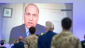 The Duke of Cambridge speaks via videolink as he officially opens the NHS Nightingale Hospital Birmingham (Jacob King/PA)