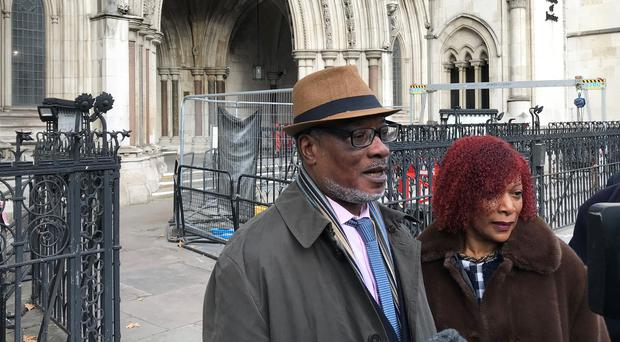 Winston Trew and his wife Hyacinth, outside the Royal Courts of Justice in London (Sam Tobin/PA)