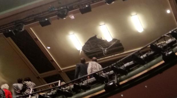 Part of the ceiling collapsed at the Piccadilly Theatre, London (Kieran Dunn/PA)