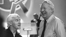 Paedophile Jimmy Savile and Ted Heath on set of Jim'll Fix It in 1980