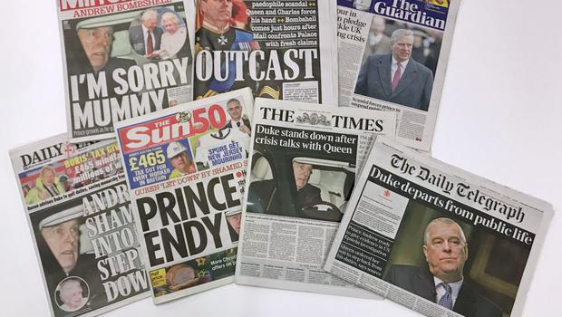 The front pages of national newspapers the day after the Duke of York stepped down from public duties (PA)