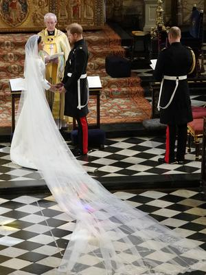 Prince Harry and Meghan Markle during their wedding ceremony (Owen Humphreys/PA)