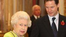 The Queen speaks to deputy prime minister Nick Clegg