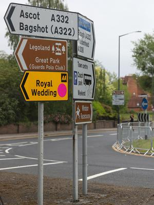 Temporary road signs in Windsor ahead of the wedding this weekend (Jonathan Brady/PA)