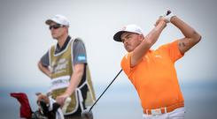 Rickie Fowler wears orange on Sunday in a hark back to his university days.