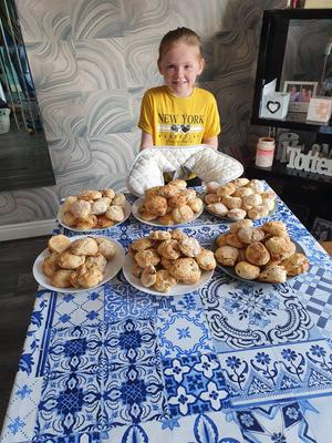 Riah Totten, 8, from Belfast, has been baking hundreds of scones for the elderly and vulnerable in local communities (Family handout/PA)