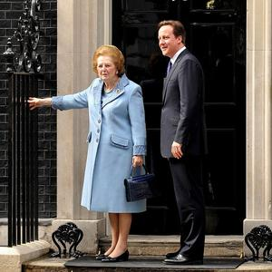 David Cameron with Baroness Thatcher at 10 Downing Street