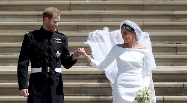 The Duke and Duchess of Sussex after their wedding (Jane Barlow/PA)