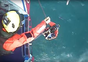 The moment Matthew was rescued. (Maritime and Coastguard Agency/PA)