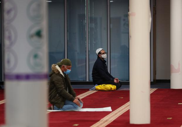 Members of the Muslim community in Oldham (Peter Byrne/PA)
