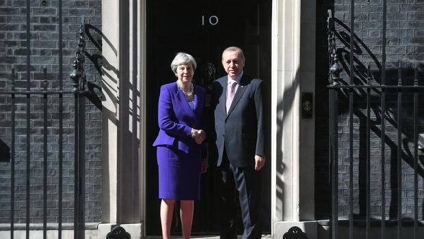 Prime Minister Theresa May greets Turkish president Recep Tayyip Erdogan as he arrives for talks at 10 Downing Street, London (Victoria Jones/PA)