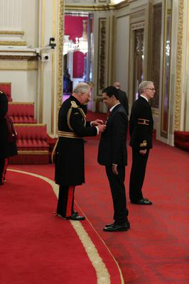 Dr Zahid Chauhan was made an OBE by the Prince of Wales for his work with homeless people (Yui Mok/PA)