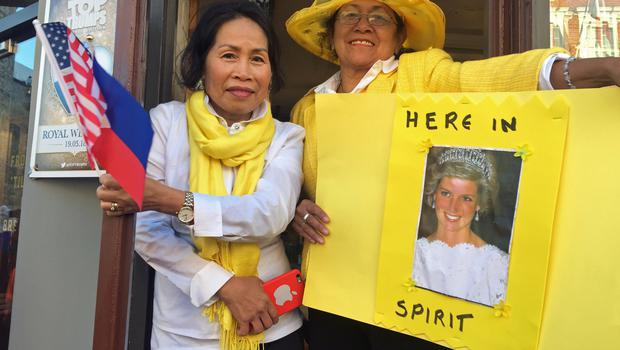 Diana tribute: Adela Welch, 63 (left), and Leila Souza, 67, from Tampa, Florida, show their love for Diane, Princess of Wales (Henry Vaughan/PA)