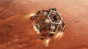 Artist's impression of Perseverance rover firing up its descent stage engines as it nears the Martian surface (NASA/JPL-Caltech)