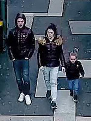 Stephen Waterson and Adrian Hoare with Alfie Lamb were caught on CCTV during a shopping trip to Sutton on the day he died (Metropolitan Police/PA)