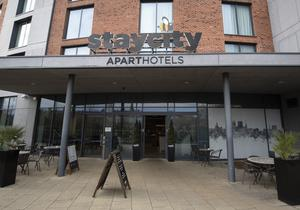 A view of the Staycity Hotel in the centre of York, after the apartment-hotel was put on lockdown (Danny Lawson/PA)