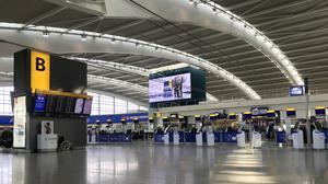 Heathrow Airport's Terminal 5 departure area is almost empty amid the coronavirus outbreak. (Stephen Parsons/PA)