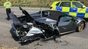 The Lamborghini was hit from behind by a van just 20 minutes into its first trip (WYP Roads Policing Unit/PA)