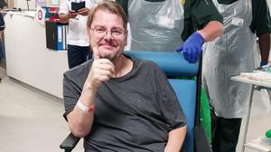 Undated photo issued by Surrey and Sussex Healthcare NHS Trust of Stephen King who spent over 50 days in intensive care as he battled Covid-19 was thrilled to be able to return home in time for Father's Day.