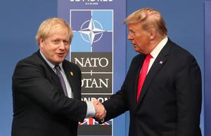 Prime Minister Boris Johnson (left) and US President Donald Trump pictured during their meeting at the annual Nato heads of government summit at The Grove hotel in Watford, Hertfordshire (Steve Parsons/PA)