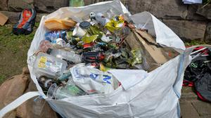 A full bag of recovered waste during a Plastic Patrol clean-up in Nottingham (PA)