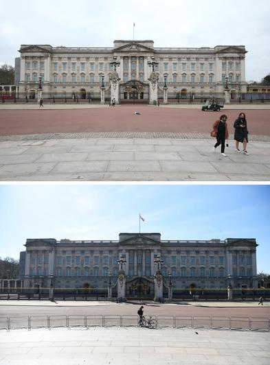 Composite of photos of Buckingham Palace in London taken on 23/03/21 (top) and the same view on 24/03/20 (bottom) (Jonathan Brady/Kirsty O'Connor/PA)