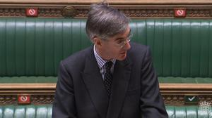 Social distancing markers can be seen behind Leader of the House of Commons Jacob Rees-Mogg as he speaks in the House of Commons (House of Commons/PA)