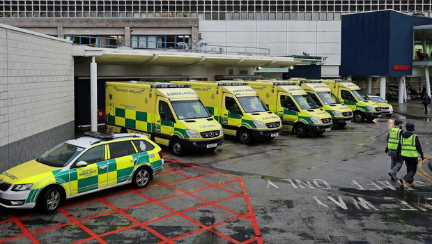 Ambulances outside the Accident and Emergency Department of the Royal Liverpool University Hospital (Peter Byrne/PA)