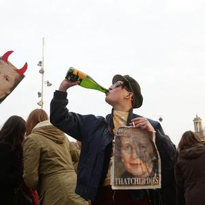 People celebrate the death of Baroness Thatcher in Brixton