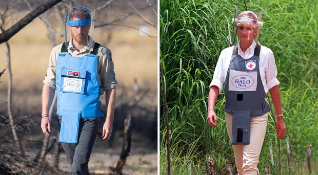 The Princess of Wales during her visit to Huambo in 1997 and the Duke of Sussex on walking through a minefield in Dirico (PA)