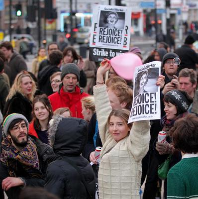 People celebrate the death of Baroness Thatcher in Brixton, south London