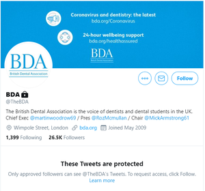 The British Dental Association's Twitter page (PA)