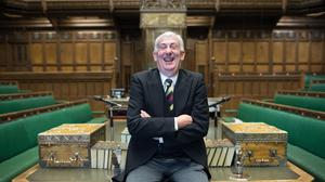 House of Commons Speaker Sir Lindsay Hoyle posses for a photograph in the chamber (Stefan Rousseau/PA)