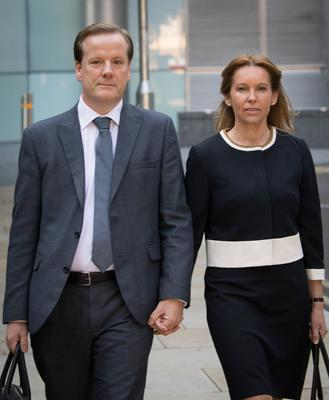 Former Conservative MP Charlie Elphicke arrives at Southwark Crown Court with his wife Natalie, current MP for Dover (Stefan Rousseau/PA)