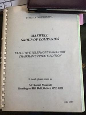 Robert Maxwell's contacts book (The Journalists' Charity/PA)