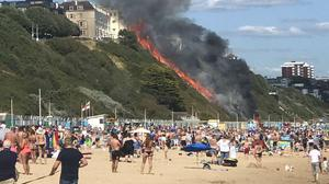 A fire which broke out on cliffs in Bournemouth (Ekaterina Berkova/PA)