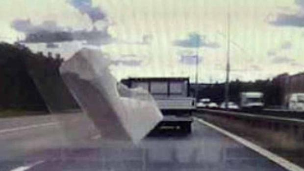 Dashcam footage revealed a piece of polystyrene packaging flew towards his vehicle, and missed it (City of London Police/PA)