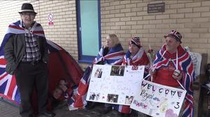 A group of superfans are ready for Kate's arrival at the Lindo Wing (PA Video)