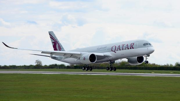 The inaugural Qatar Airways flight touches down (Qatar Airways/PA)