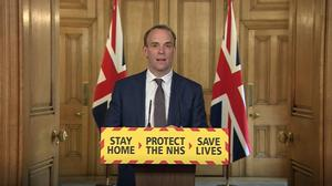 Foreign Secretary Dominic Raab during a media briefing in Downing Street on coronavirus (PA Video)