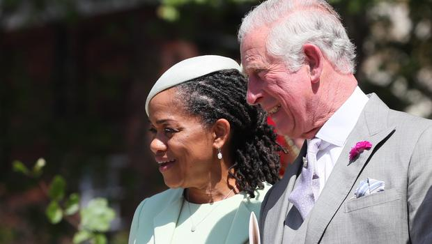 Doria Ragland and the Prince of Wales leave St George's Chapel (Brian Lawless/PA)
