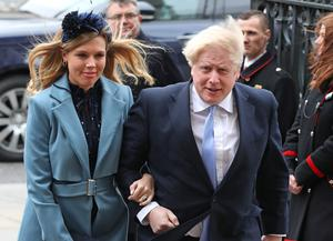 Boris Johnson and Carrie Symonds arrive at the Commonwealth Service at Westminster Abbey in March (Yui Mok/PA)