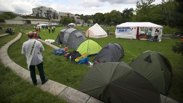 The five-day protest camp has been set up in the grounds of the Scottish Parliament (Jane Barlow/PA)