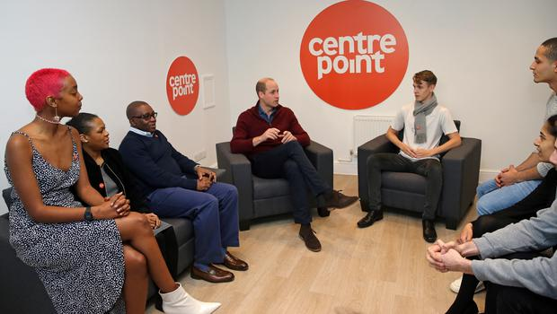 The Duke of Cambridge (centre) with chief executive of Centrepoint Seyi Obakin (third left) as he visits the charity's new apprenticeship accommodation (Ben Stansall/PA)